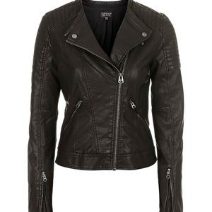 EUC TOPSHOP FAUX LEATHER QUILTED MOTO JACKET